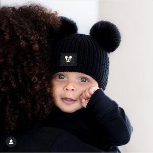 Love Your Melon Baby Black Pom Mickey Mouse Beanie